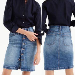 J Crew Button Front Denim Skirt